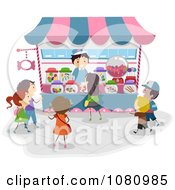 Clipart Stick Kids Lining Up At A Candy Kiosk Royalty Free Vector Illustration by BNP Design Studio