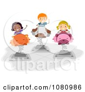 Clipart Stick Kids Playing On Bouncy Animals Royalty Free Vector Illustration by BNP Design Studio