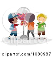 Clipart Stick Kids At A Gum Ball Machine Royalty Free Vector Illustration by BNP Design Studio