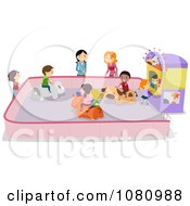 Clipart Stick Kids On An Animal Bumper Car Ride Royalty Free Vector Illustration by BNP Design Studio