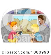 Clipart Kids Viewing Animals From A Bus Window Royalty Free Vector Illustration