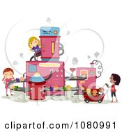 Clipart Stick Girls Making Dolls In A Factory Royalty Free Vector Illustration