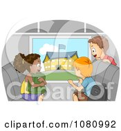 Clipart Kids Viewing A School From A Bus Window Royalty Free Vector Illustration