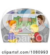 Clipart Kids Taking Pictures Of A Zoo From A Bus Window Royalty Free Vector Illustration