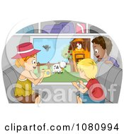 Clipart Kids Taking Pictures Of Farm Animals From A Bus Window Royalty Free Vector Illustration