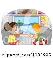 Clipart Kids Taking Pictures Of A Beach From A Bus Window Royalty Free Vector Illustration