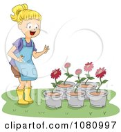 Clipart Girl Looking A Red Potted Flowers Royalty Free Vector Illustration