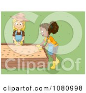 Clipart Kids Planting In A Garden Bed Royalty Free Vector Illustration