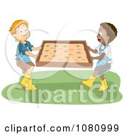 Clipart Kids Moving A Garden Bed Royalty Free Vector Illustration