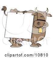 Brown Dairy Cow With A Blank White Sign On It Clipart Illustration