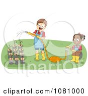 Clipart Kids Watering Seeding Plants Royalty Free Vector Illustration