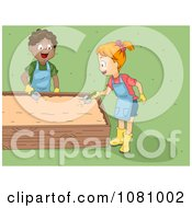 Clipart Kids Digging In AGarden Bed Royalty Free Vector Illustration