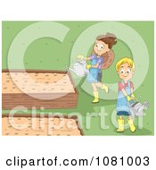 Clipart Kids Watering Plants In Garden Beds Royalty Free Vector Illustration