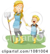Clipart Mom And Son Gardening Royalty Free Vector Illustration