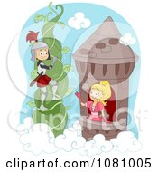 Clipart Knight Climbing A Vine To Rescue A Princess Royalty Free Vector Illustration by BNP Design Studio