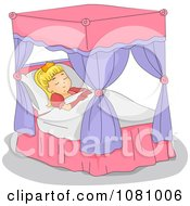 Clipart Princess Sleeping In A Canopy Bed Royalty Free Vector Illustration by BNP Design Studio