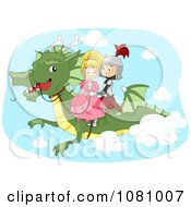 Clipart Knight And Princess Flying On A Dragon Royalty Free Vector Illustration by BNP Design Studio
