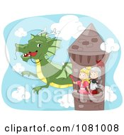 Clipart Knight And Princess Waving To A Dragon From A Tower Royalty Free Vector Illustration by BNP Design Studio