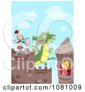 Clipart Knight Trying To Save A Princess From A Dragon Royalty Free Vector Illustration by BNP Design Studio