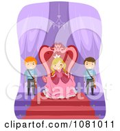 Clipart Stick Kids And A Princess Royalty Free Vector Illustration
