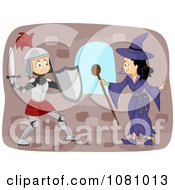 Clipart Knight Battling A Witch Royalty Free Vector Illustration