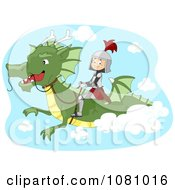 Clipart Knight Flying On A Dragon Royalty Free Vector Illustration