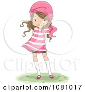 Clipart Brunette Girl Wearing A Pink Striped Dress And Scarf On Her Head Royalty Free Vector Illustration