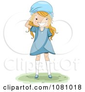 Clipart Blond Girl Wearing A Blue Dress And Scarf On Her Head Royalty Free Vector Illustration