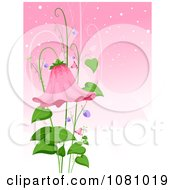 Clipart Bell Flower And Leaves Over Pink Royalty Free Vector Illustration by BNP Design Studio