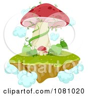 Clipart Floating Magical Mushroom Island Royalty Free Vector Illustration