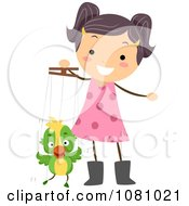 Clipart Stick Girl Playing With A Parrot Puppet Royalty Free Vector Illustration
