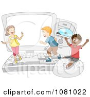 Clipart Students Playing On A Big Computer Royalty Free Vector Illustration