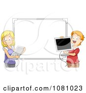 Clipart Students Holding A Computer Keyboard And Monitor Against A White Board Royalty Free Vector Illustration by BNP Design Studio