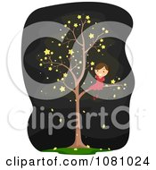 Clipart Stick Girl In A Starry Tree Royalty Free Vector Illustration