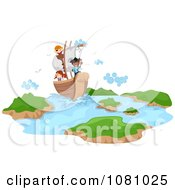 Clipart Stick Kids On A Pirate Ship Royalty Free Vector Illustration