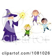 Clipart Stick Kids And A Wizard Floating Royalty Free Vector Illustration by BNP Design Studio