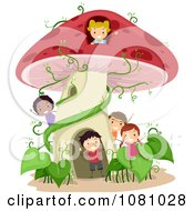 Clipart Stick Kids Playing At A Mushroom House Royalty Free Vector Illustration
