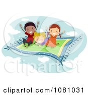 Clipart Stick Kids Flying On A Magic Carpet Royalty Free Vector Illustration by BNP Design Studio