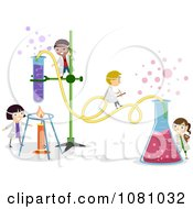 Clipart Tiny Stick Kids Working On A Chemistry Experiment Royalty Free Vector Illustration