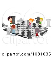 Clipart Stick Kids Playing On A Giant Chess Board Royalty Free Vector Illustration