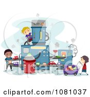Clipart Stick Kids Building Toy Cars In A Factory Royalty Free Vector Illustration by BNP Design Studio