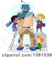 Clipart Stick Kids Making A Robot Royalty Free Vector Illustration