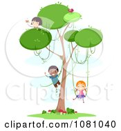Clipart Stick Kids Playing In A Tree With Vines Royalty Free Vector Illustration by BNP Design Studio