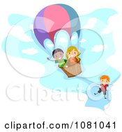Clipart Stick Kids Playing In A Hot Air Balloon Royalty Free Vector Illustration