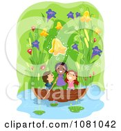 Clipart Stick Kids Boating Under Giant Flowers Royalty Free Vector Illustration