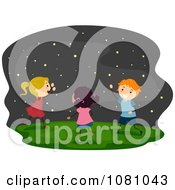 Clipart Stick Kids Chasing Fireflies Royalty Free Vector Illustration