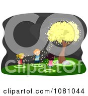 Clipart Stick Kids Under A Firefly Tree Royalty Free Vector Illustration