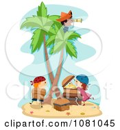 Clipart Stick Kid Pirates On A Treasure Island Royalty Free Vector Illustration