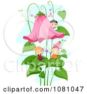 Clipart Stick Kids Playing On Leaves Royalty Free Vector Illustration
