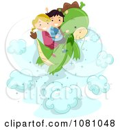 Clipart Stick Kids Flying On A Dragon Royalty Free Vector Illustration by BNP Design Studio